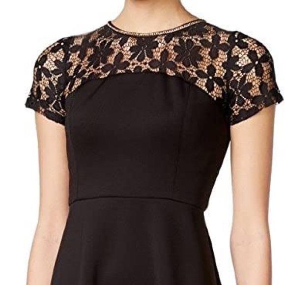 JESSICA SIMPSON Lace & Scuba Fit & Flare Dress sz2